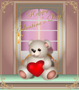 Free Greeting Card With Teddy Bear And Door Royalty Free Stock Photo - 28925735
