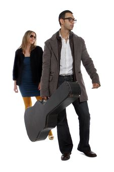 Free Musician With His Girlfriend Stock Images - 28928084