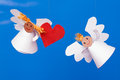 Free Two Toy Angel And Heart Stock Photography - 28936152
