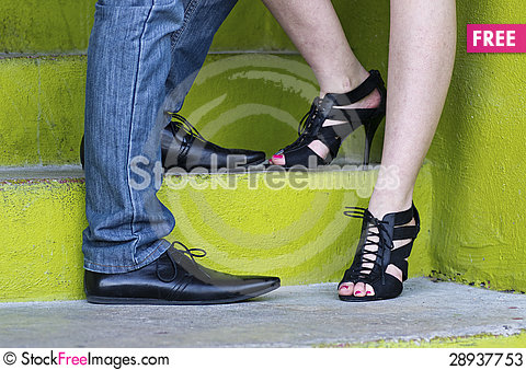 Free Shoes &  Green Steps Of Engaged Couple Stock Photos - 28937753
