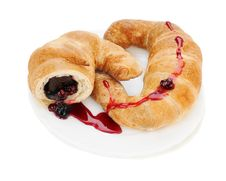 Croissant With Chocolate And Raspberry Jam On Plate Stock Images