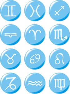 Free Zodiac Signs On Light Blue Buttons Stock Photography - 28932762