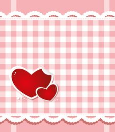 Hearts On The Checkered Background Royalty Free Stock Photos
