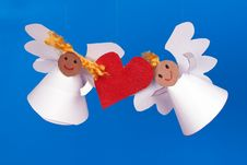 Free Two Toy Angel And Heart Royalty Free Stock Photo - 28936185
