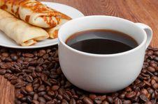 Delicious Pancakes And Coffee Stock Photos