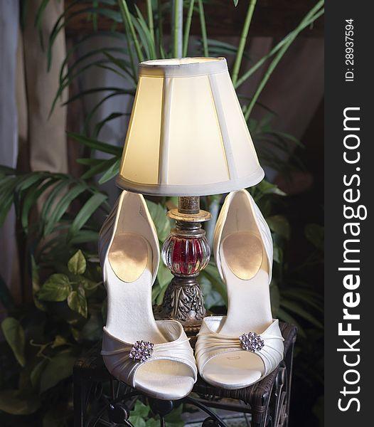 Vertical: Wedding Shoes, Lamp & Plants