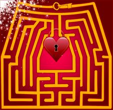 Free Postcard Maze Of Love. Valentine Day Royalty Free Stock Photography - 28942667