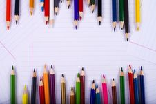 Free Color Pencils Creating A Chaotic Frame Royalty Free Stock Images - 28943639