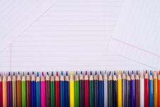 Free Color Pencils Lie Exactly One To One Royalty Free Stock Image - 28943676
