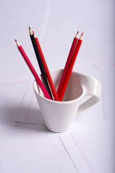 Black And Red Pencils Stand Stock Photos