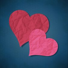 Free Two Hearts From Paper Stock Photo - 28947290