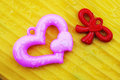 Free Pink And Red Heart On Yellow Background Stock Photos - 28951223