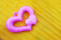 Free Pink Heart On Yellow Background Royalty Free Stock Photos - 28951268