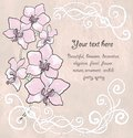 Free Vintage Floral Card With Orchid Royalty Free Stock Photography - 28951687