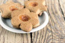 Free Almond Cookies With Fruit Jam Stock Photos - 28952183