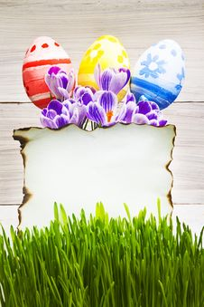 Free Easter Decoration Blank Empty Letter Card Handpainted Eggs Stock Image - 28952561