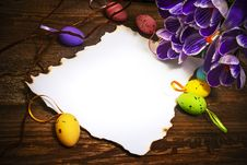 Free Easter Decoration Blank Empty Letter Card Vintage Eggs Crocus Royalty Free Stock Photos - 28952578