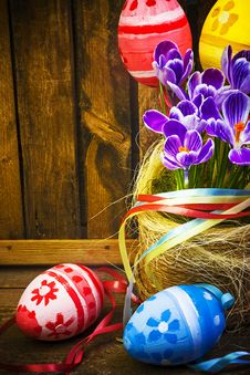 Free Easter Decoration Eggs Spring Flowers Crocus Baske Royalty Free Stock Photos - 28952598