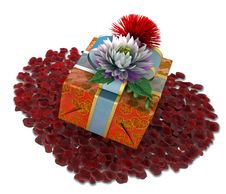Free Holiday Flowers With Gift Box And Rose Petals Royalty Free Stock Photos - 28953068