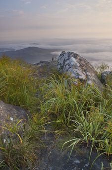 Free Dawn Scene With Rock And Grass Foreground Royalty Free Stock Photo - 28953285