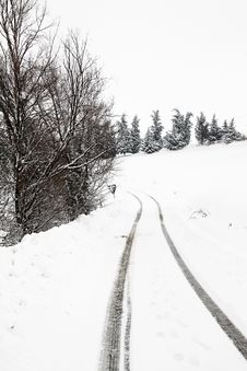 Free A Path In The Snow Royalty Free Stock Photo - 28961705