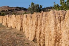 Row Of Bales Of Hay Stock Images