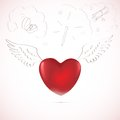 Free Red Heart, Sketch Stock Images - 28972714