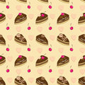 Free Seamless Vector Pattern With Chocolate Cakes Stock Photography - 28983212