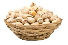 Free Pistachio Nuts In A Wicker Plate, Isolated Royalty Free Stock Photography - 28982687