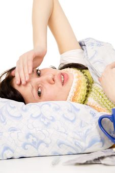 Free The Diseased Beautiful Girl Lying In Bed, Aching Head Stock Photo - 28984160