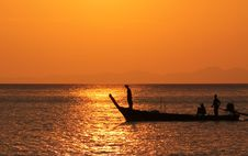 Free Fisherboat At Sunset Stock Images - 28985204