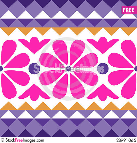 Free Geometry Pattern With Flowers Royalty Free Stock Photo - 28991065