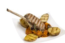 Free Roast Lamb On The Bone With Potatoes Royalty Free Stock Photo - 28990915