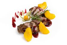 Free Lamb With Fruit And Berry Sauce Royalty Free Stock Photo - 28990935