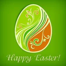 Free Painted Easter Egg On Green & Text Stock Photos - 28992953