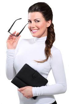 Free Young Beautiful Happy Business Woman With Tablet Stock Photos - 28993813
