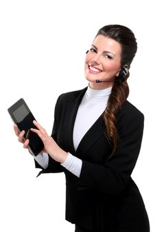 Young Beautiful Happy Business Woman With Tablet Stock Photos