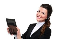 Young Beautiful Happy Business Woman With Tablet Royalty Free Stock Image