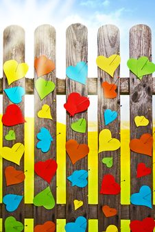 Free Heart Fence Hearts Love Meny Colour Valentines Day Paper Stock Images - 28994984