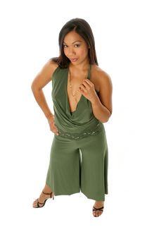 Free Girl In Green Pants Outfit Stock Photography - 292452