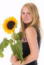 Free The Girl With A Sunflower Stock Image - 2900851
