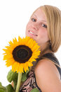 Free The Girl With A Sunflower Royalty Free Stock Image - 2901056