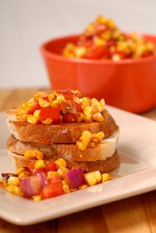 Free Corn, Tomato Bruschetta Royalty Free Stock Photography - 2900107