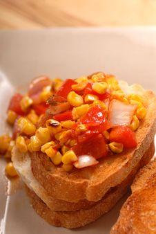 Free A Corn And Tomato Bruschetta Stock Photography - 2900142