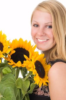 Free The Girl With A Sunflower Royalty Free Stock Images - 2901289