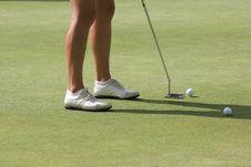 Lady Golf Putting Stock Photo