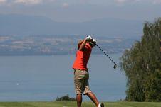 Free Lady Golf Swing At Leman Lake Stock Image - 2901491