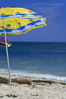 Free Colorful Umbrella On A Sunny Beach Royalty Free Stock Photos - 2902668
