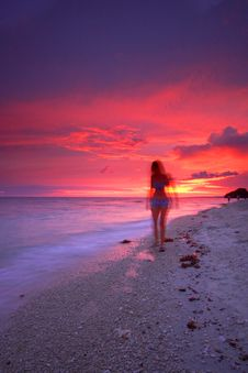 Free Tropical Beach Sunset Royalty Free Stock Photography - 2903847