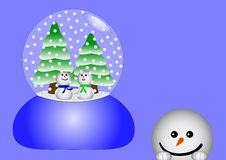 Free Two Snowmen In A Glass Stock Images - 2904834
